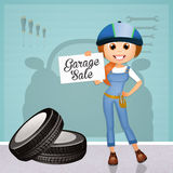 Garage on sale. Illustration of garage on sale with funny woman Stock Image