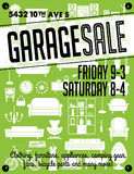 Garage Sale Poster. Garage or Yard Sale with signs, box and household items. Vintage printable poster or banner template Stock Images