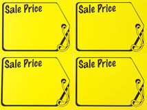 Garage sale price sign. Blank yellow garage sale price sign Stock Photos