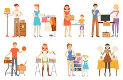 Garage Sale and Second Hand Staff, Selling Goods. Vector. Yard sale of furniture and clothes, technology and sport items, music discs and kitchenware isolated royalty free illustration