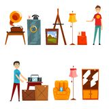 Garage sale set, people buying and selling old things vector Illustration on a white background. Garage sale set, people buying and selling old things vector stock illustration