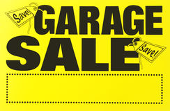 Garage sale sign. Blank yellow garage sale sign Stock Image