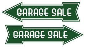 Garage Sale Sign Arrow Pointing Way. Garage Sale Sign Yard Pointing Way Green White Directional Notice Post royalty free illustration