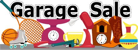 Garage sale sign. Garage sale banner with assorted household and sport items lying on a table, isolated on white, EPS 8 vector illustration, no transparencies Royalty Free Stock Photo