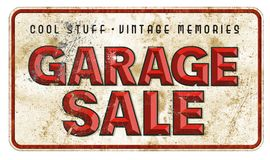 Garage Sale Sign Vintage Grunge. Garage Sale Tin Sign Vintage Grunge with Chiseled lettering red on rusted background vector illustration