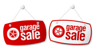 Garage for sale signs. Stock Photo
