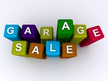 Garage sale. Spelled in colorful blocks on white Stock Photos