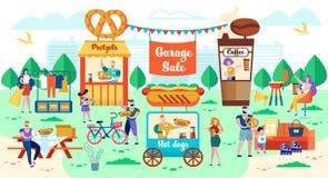 Garage sale, Stads Eerlijk en Snel Voedsel op Straat vector illustratie