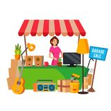 Garage Sale Vector. Assorted Household Items. Flat Cartoon Illustration Stock Photos
