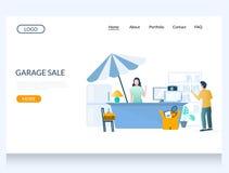 Free Garage Sale Vector Website Landing Page Design Template Royalty Free Stock Image - 164131496