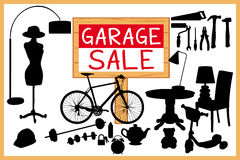 Garage sale woodboard. red cleanout illustration with red wooden signboard. Royalty Free Stock Photo