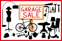 Garage sale woodboard. red cleanout illustration with wooden signboard. Stock Photography
