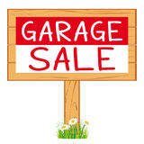 Garage sale woodboard. red cleanout vector icon signboard. Stock Photography