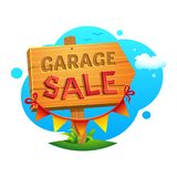 Garage Sale, vector illustration. Garage Sale, wooden pointer with a hand written inscription and decoration on the background of a landscape vector illustration Stock Photography
