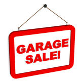 Garage sale. Words on a hanging banner in red color, white background Royalty Free Stock Photography