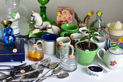 Garage sale yard sale. Old unwanted items and utensils Royalty Free Stock Image