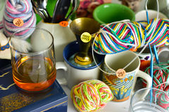 Garage sale yard sale. Old unwanted items and utensils Stock Images