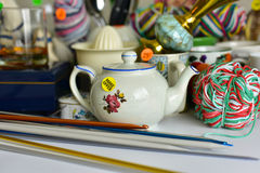 Garage sale yard sale. Old unwanted items and utensils Royalty Free Stock Photos