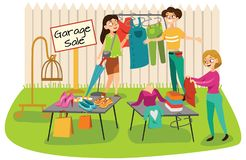 Garage Sale Young beautiful women at the weekly cloth market, girls choose clothes at the sale of used items, seller and. Buyer in market outdoor, shopping stock illustration