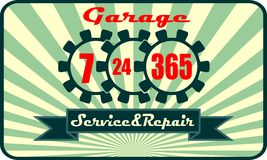 Garage service and repair with 7, 24, 365 operation mode. Time operation mode in gears icon Royalty Free Stock Photo