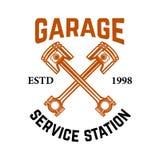 Garage. Service station. Emblem with crossed pistons. Car repair. Design element for logo, label, emblem, sign. Vector illustration Stock Photo