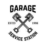 Garage. Service station. Emblem with crossed pistons. Car repair. Design element for logo, label, emblem, sign. Vector illustration Royalty Free Stock Photos