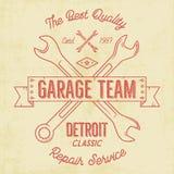 Garage service vintage tee design graphics, Detroit classic, repair service typography print. T-shirt stamp, teeshirt Royalty Free Stock Photo