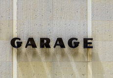 Garage sign at house facade Royalty Free Stock Photo