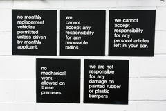 Garage sign stating no responsibility for anything, NO, New York, USA Royalty Free Stock Photography