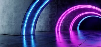 Garage souterrain de Sci fi de fum?e de cercle de pourpre de couloir r?fl?chi concret sombre lumineux blanc bleu au n?on moderne  illustration stock