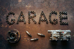 Garage and spare parts Royalty Free Stock Photos