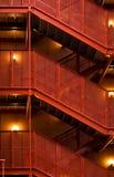 Garage staircase. Red metal garage stair Royalty Free Stock Photos