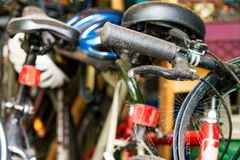 Garage or storage room with close up of a cobweb covered bike stock photography