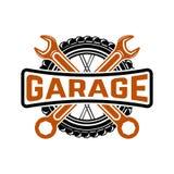 garage Tjänste- station Bilreparation Designbeståndsdel för logo, la vektor illustrationer