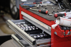 Garage tool box. Image of a Garage tool box royalty free stock photos
