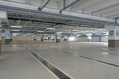 Garage, underground interior with empty parking lot of a superm Royalty Free Stock Images