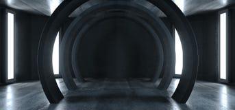 Garage vibrante d'ardore concreto dello studio delle luci di neon di lerciume del cerchio futuro di Sci Fi del corridoio sotterra illustrazione vettoriale