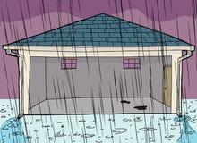 Garage vide pendant la tempête Photographie stock