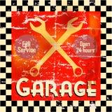 Garage. Vintage car garage workshop sign, retro style illustration royalty free illustration
