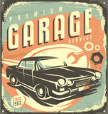 Garage vintage metal sign. Car service - Promotional retro design concept. Vintage poster design for garage service Royalty Free Stock Image