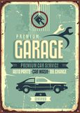 Garage vintage tin sign. Premium car service retro poster design with creative typography and car side view on old damaged metal background Royalty Free Stock Images