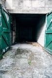 Garage vuoto dell'automobile con le porte verdi fotografia stock libera da diritti