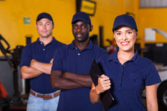 Garage workers royalty free stock photos