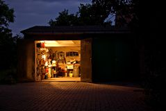 Garage workshop at night Royalty Free Stock Photography