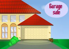 Garage or Yard Sale with signs, box and household items. Stock Photos
