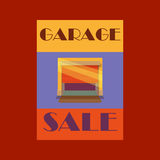 Garage or Yard Sale with signs, box and household items.  Stock Images