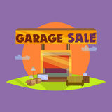 Garage or Yard Sale with signs, box and household items.  Royalty Free Stock Image