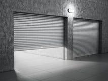 Garagebyggnad som göras av betong Arkivbilder