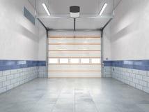 Garagem com porta do rolamento fotografia de stock