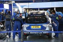 Garagem da equipe da reunião do mundo de Subaru foto de stock